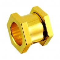 Hexagon Gold Anodised Ear Flesh Tunnel