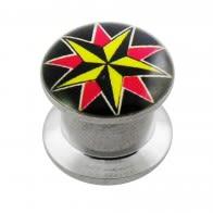 Star Logo Internally Threaded Ear Flesh Tunnel