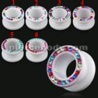 UV Milk White Flesh Tunnel with Multi color Stones in Ferido Glue Setting