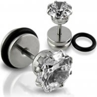 Clear CZ Jeweled Stone Fake Ear Plug with Drum