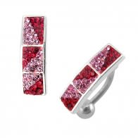 Red Cherry Color Crystal Stone Reverse Belly Body Jewelry Ring