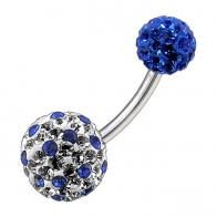 Multi Color Crystal Stone Balls With SS Banana Bar Belly Ring FDBLY090