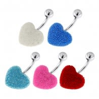 Surgical Steel Navel Bar with Colorful Tiny Bead Heart