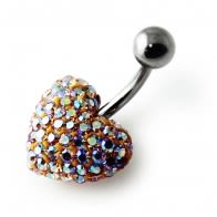 Light Yellow Crystal Stone Heart Banana Bar Belly Ring