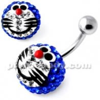 Multi Crystal wòch Blue Doraemon Fig Ring
