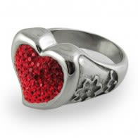 Multi Crystal Heart Finger Ring
