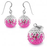 Silver Jewelry Pink Crystal stone Studded Earring Pendant Set