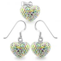 Crystal stone Heart Shape Silver Jewelry Earring Pendant Set