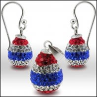 Multi Color Crystal stone Earring And pendant Jewelry Set