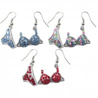 Metal And Rhinestone Costume Dangle Earring