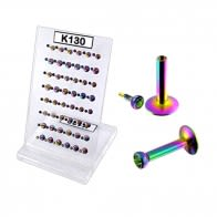 Rainbow Anodised Madonna Labret Jeweled Top in Display K130