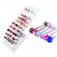 Mix Fancy UV Balls Tongue Rings in a Wave display