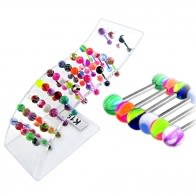 Bio Tongue Barbell with Mix Fancy UV Balls in a Wave display