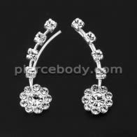 925 Sterling Silver Flower with Dazzling CZ Stone Ear Pin Stud