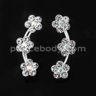 925 Sterling Silver Clear CZ Tri Flower Ear Pin Stud