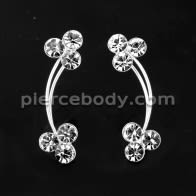 925 Sterling Silver Fancy Jeweled CZ Stone Ear Pin Stud