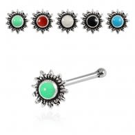 925 Sterling Silver Bali Style Mandala Coiled Oxidized Nose Stud