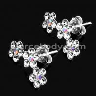 Colorful Enamal Pink Flower CZ Sterling Silver Earring and Pendant