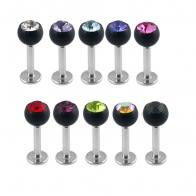 Labrets with Black Base crystal balls