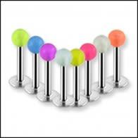 316L Labrets de acero quirúrgico con Glow Balls