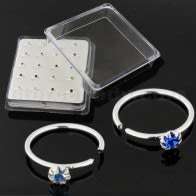 Flower Set Jeweled 925 Sterling Silver Nose and Ear Tragus Ring In Box