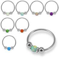 925 Sterling Silver Opal Bead in Center Nose Hoop Ring