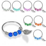 925 Sterling Silver Opal Bead with Leaf Charm Nose Hoop Ring