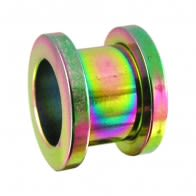 Rainbow Anodised Screw Fit Flesh Tunnel