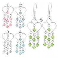Crystal Beads on Heart Earring