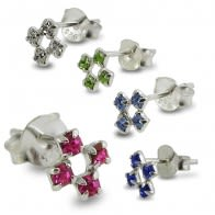 4 Jeweled Silver Earring