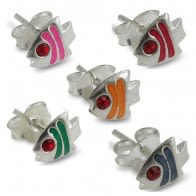 Hand Painted Fish Silver Earring