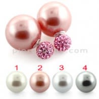 Pearl Ball Stud Earring with Multi Jeweled Ferido Ball Top