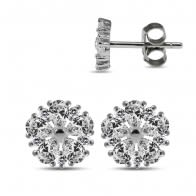 925 Sterling Silver Rhodium Plated Clear CZ Jeweled Flower Ear Stud