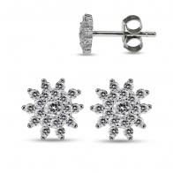 925 Sterling Silver Rhodium Plated Clear CZ Jeweled Tiny Flower Ear Stud
