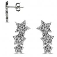 925 Sterling Silver Rhodium Plated Clear CZ Jeweled Multi Stars Ear Stud