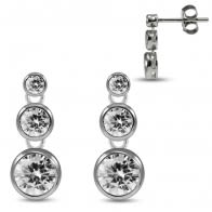 925 Sterling Silver Rhodium Plated Round Clear CZ Jeweled Bezel Setting Dangling Ear Stud