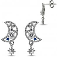 925 Sterling Silver Rhodium Plated CZ Jeweled Half Moon And Star With Dangling charm Ear Stud