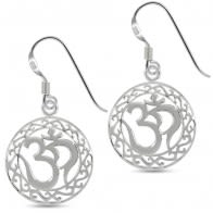 Ohm in a Floral Cut out 925 Sterling Silver Ear Ring