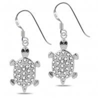 Fancy Jeweled Turtle Dangling 925 Sterling Silver Ear Ring