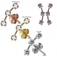 925 Sterling Silver Round Jeweled Dipper Fashion Ear Stud
