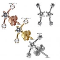 925 Sterling Silver Star and Round Jeweled Dipper Fashion Ear Stud