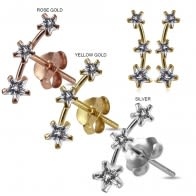 925 Sterling Silver Star Jeweled Claw Set Dipper Fashion Ear Stud