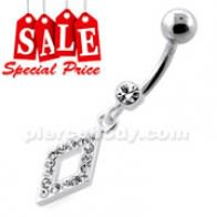 Multi Jeweled Diamond Shape Dangling Silver Navel Bar