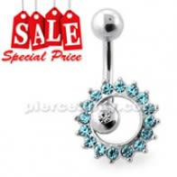 Rolling Sun Dangling Silver Navel Bar