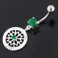 Center Jeweled Flower Sterling Silver Navel Belly Button Ring