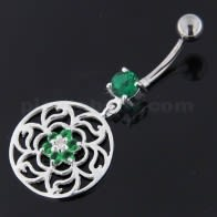 Flower Center con Flores Sterling Silver 925 do anel do embigo