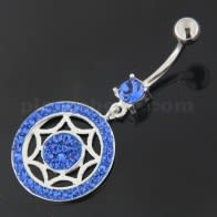 925 Sterling Silver Multi Jeweled Round Belly Button Ring