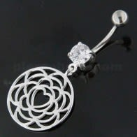 925 Sterling Silver center Heart Cutout Belly Button Ring