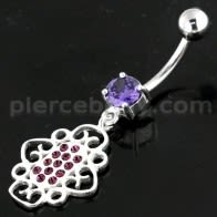 Multi Jeweled Heart Cut Navel Belly Piercing