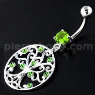Jeweled Tree of Life Cut out Navel Belly Piercing